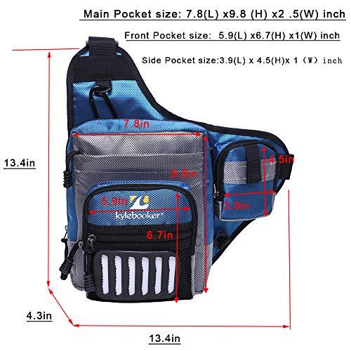 Kylebooker Fishing Tackle Storage Bags Shoulder Pack (Blue)