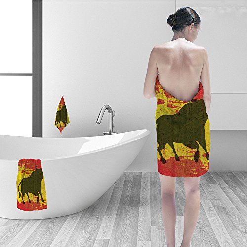 Nalahomeqq Bath towel set Spanish Bull Antiqued Aged Symbol Spaniard Icon Spain Flag Grunge Digital Clip Art Funky Lovely Decor Print Home Bathroom Design Polyester Fabric Red and Yellow by Nalahomeqq