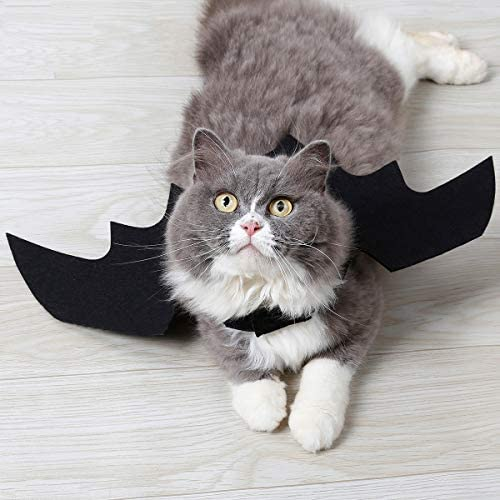 Vikedi Cat Halloween Costume with Cat Collar Bow Tie, Cat Bat Wings for Halloween Party Cosplay Decoration, Pet Costumes Apparel for Cat Small Dogs 24