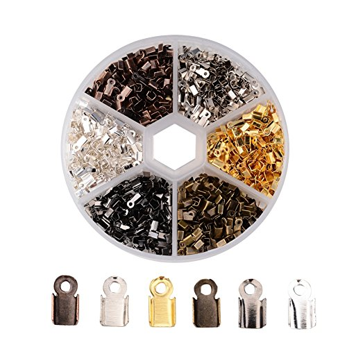 Pandahall 1380pcs/box 6 Color Iron Fold Over Crimp Cord Ends for 3mm Thick Leather Jewelry Findings 6x3x2.3mm Terminators End Tips (Fold Over Crimp)