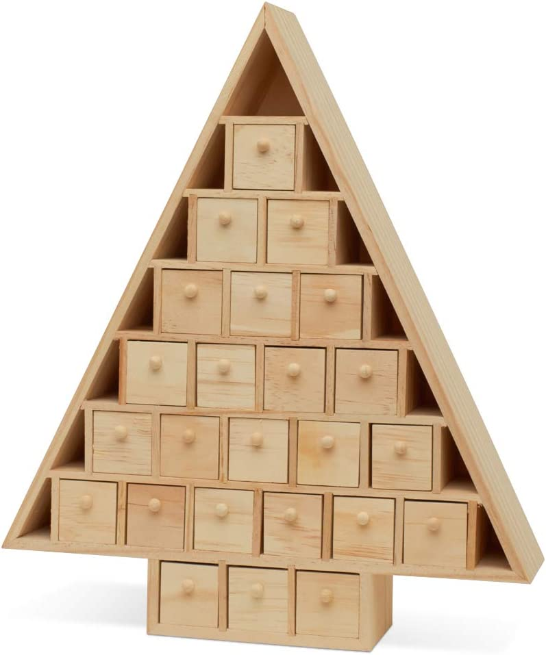 Wooden Advent Calendar Empty DIY-Pre Assembled Empty Drawers Refillable Unfinished 15 Inch x 13 Inch, by Woodpeckers