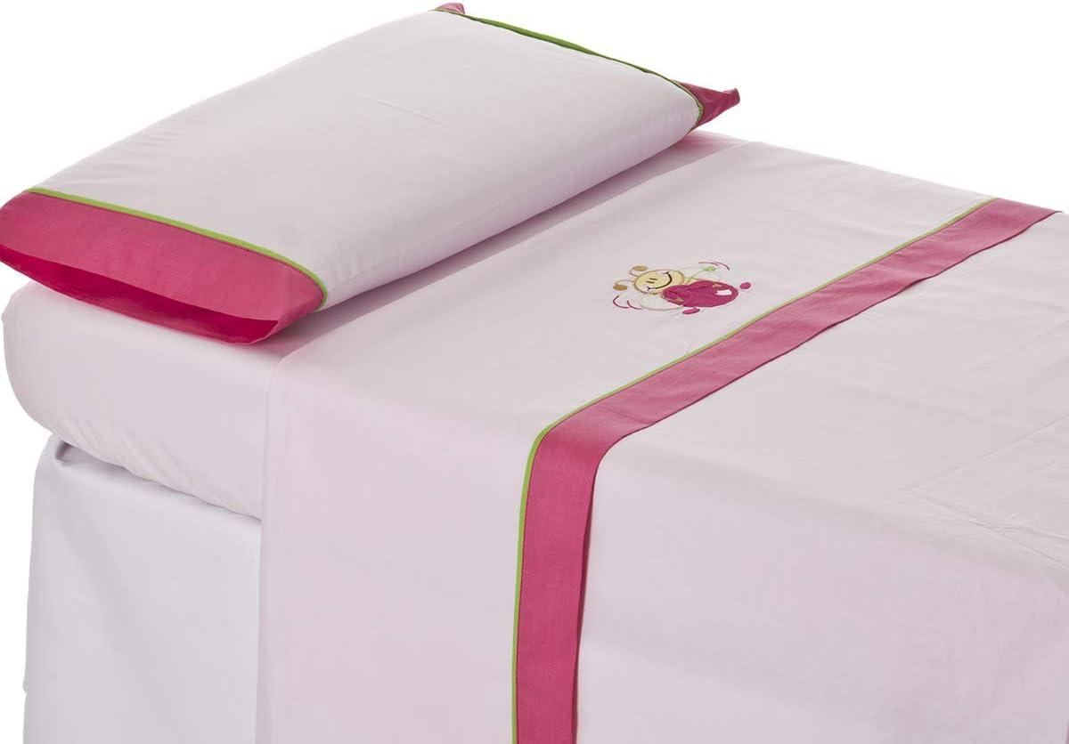 Juego sabanas cuna 70x140 cm. Bordado ABEJITA rosa. Algodón 100 ...