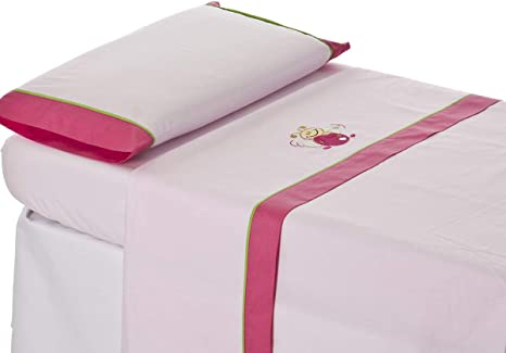 Juego sabanas cuna Bordado ABEJITA rosa. Para cuna 60x120 cm ...