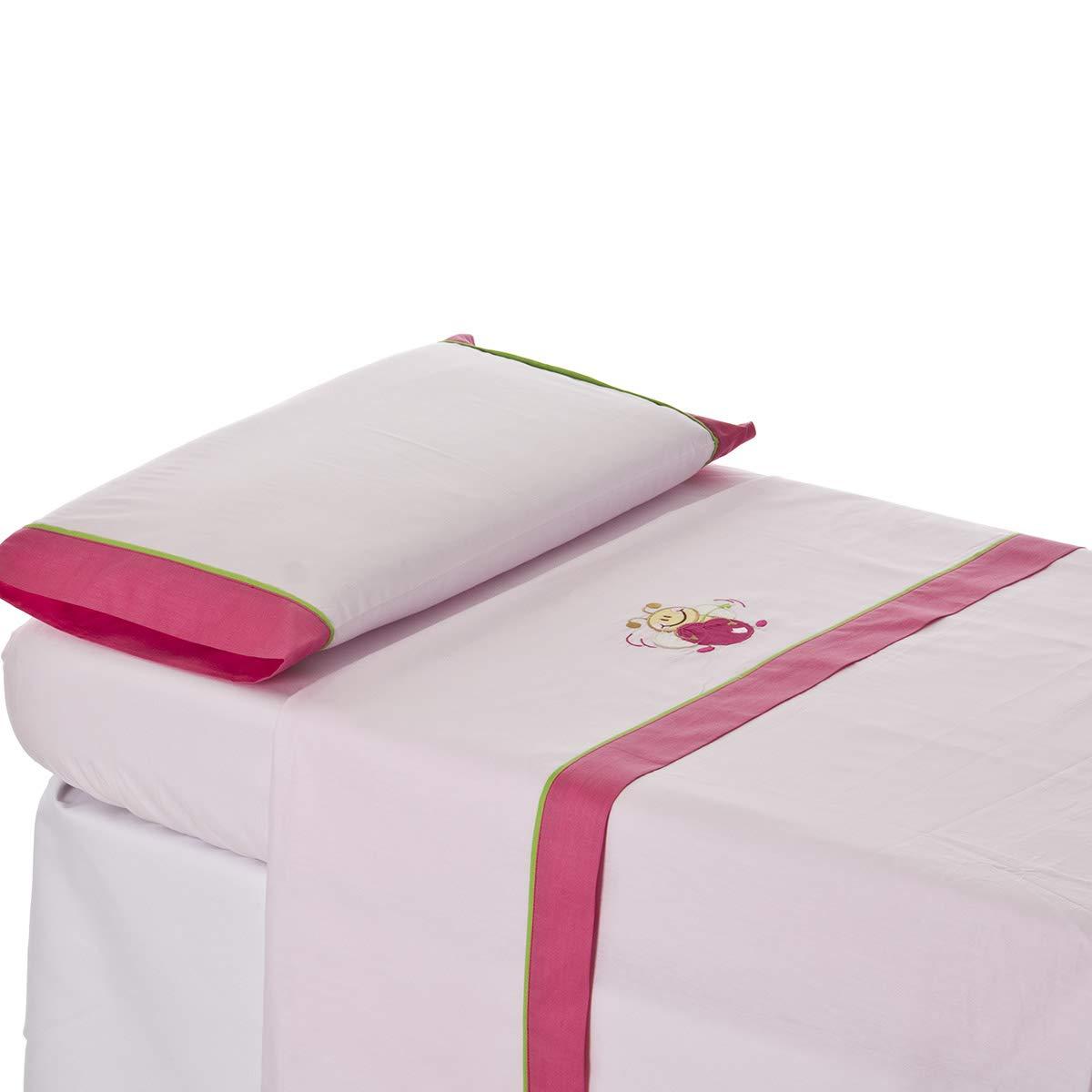Bordado ABEJITA rosa Kokete MAXICUNA.450384/_70.INCLUYE: S/ábana encimera+Bajera ajustable+Funda de almohada Bebelovers Algod/ón 100/% Juego sabanas cuna 70x140 cm Mobibe