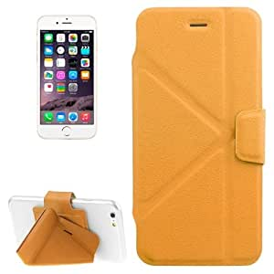Multi-folding Crazy Horse Texture PU Leather Case with Holder for iPhone 6 Plus(Yellow)