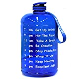 AOMAIS Gallon Water Bottle with Motivational Time Marker, Large 128 oz, Leak-Proof, Wide Mouth, BPA Free Water Bottles for Sports Gym Fitness Work(1 Gallon, Blue)