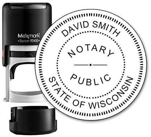 Round Notary Stamp for State of Wisconsin- Self Inking Stamp - Top Brand Unit with Bottom Locking Cover for Longer Lasting Stamp - 5 Year Warranty - Locking Unit