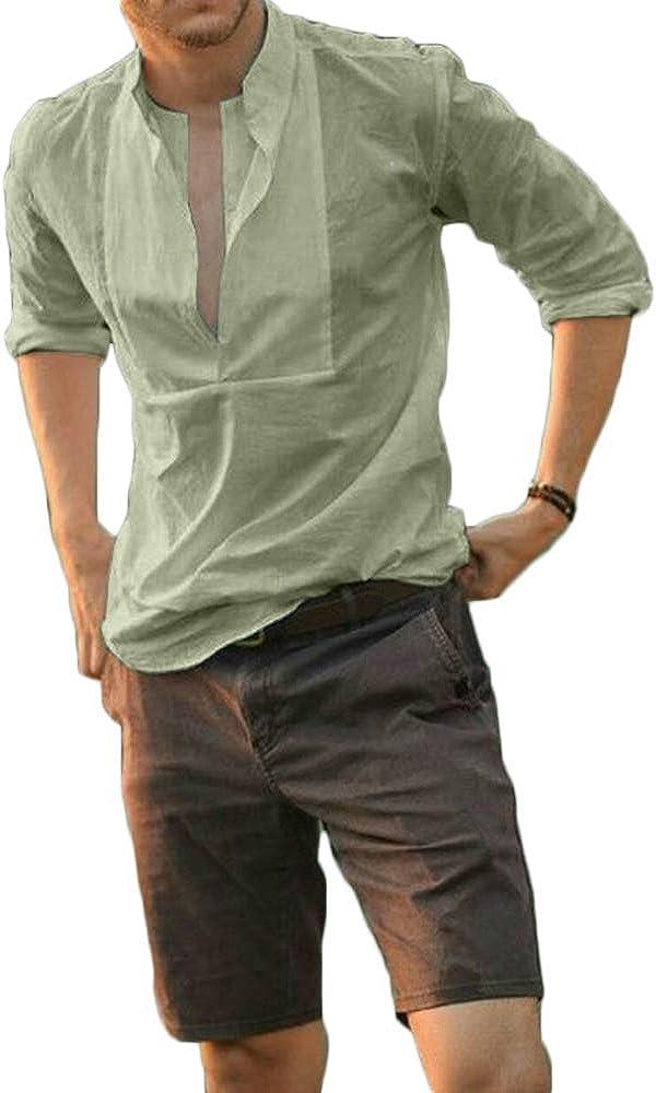 Mens Casual Long Sleeve Henley Shirt Slim Fit V Neck Shirts Solid Color Beach Yoga Top T-Shirt
