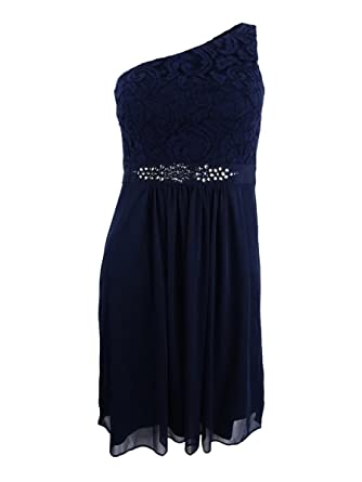 Adrianna Papell Womens One Shoulder Lace Sheath Dress Blue 18