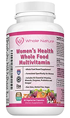 Whole Nature Whole Food Multivitamin For Women- All Essential Vitamins and Minerals, Digestive Enzymes, Probiotics, Omega's plus Women's Health Blend. Vegan - Gluten Free - Non GMO.