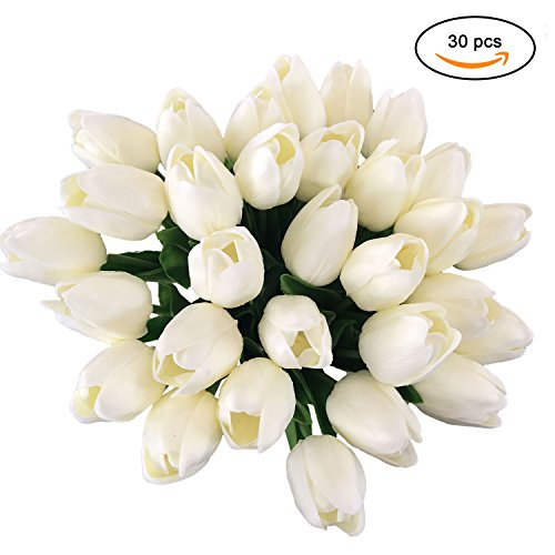 ZHIIHA Tulips Artificial Flowers Bouquet Real-touch Holland PU Mini Flowers For Home Wedding Party Decor((White, (Tulip Petals)