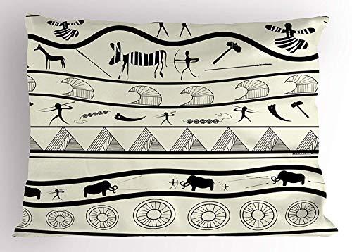 (K0k2t0 Primitive Pillow Sham, Minimalist Tribal Motifs with Aboriginal Forms Vintage Primitive Times Cultural, Decorative Standard Queen Size Printed Pillowcase, 30 X 20 inches, Beige Black)