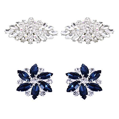 ElegantPark 2 Pairs Rhinestones Crystal Shoe Clips Buckle for Wedding Party Decoration Silver & Navy Blue