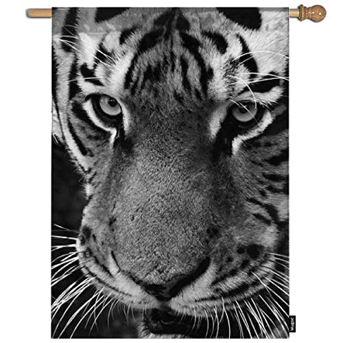 - Mugod Tiger Garden Flag a Bengal Tiger Portrait in Black and White Decorative Spring Summer Outdoor House Flag for Garden Yard Lawn 28 x 40 Inch