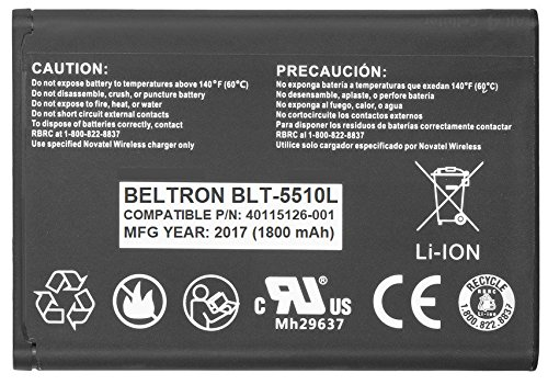 New 1800 mAh Replacement Battery for Novatel Jetpack MiFi 5510L Mobile Hotspot - P/N: 40115126-001 (5510 Replacement)