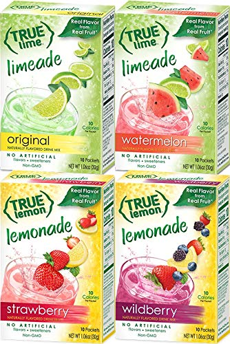 - True Lemon Strawberry, Wildberry, Limeade, Watermelon (Pack of 4) 10ct each box. True Citrus Newest Flavors Kit.