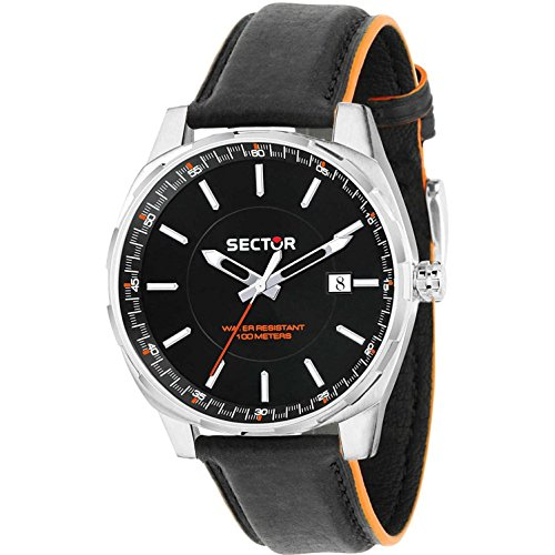 Sector Men's 44mm Black Leather Band Steel Case Quartz Analog Watch 3251503002