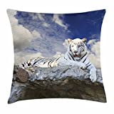 Egg Shell Bed Cover Tiger Throw Pillow Cushion Cover, Bengal Hunter Surveying What is Beneath It from Top White Large Feline, Decorative Square Accent Pillow Case, 18 X 18 Inches, Eggshell Sky Blue White