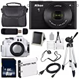 Nikon 1 J4 Mirrorless Digital Camera with 10-30mm Lens (Black) (International Model No Warranty) + Nikon WP-N3 Waterproof Housing + EN-EL22 Battery + 8GB SDHC Memory Card + 6AVE Bundle