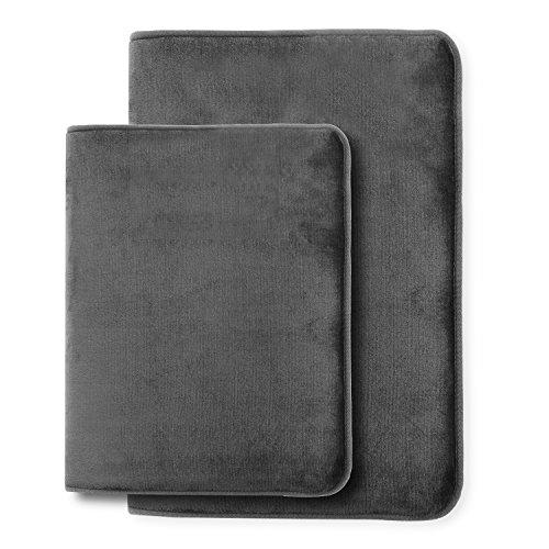 "Memory Foam Bathrug – Gray, Bath Mat, Set Of 2, Large 20"" x 32"", And A Small 17"" x 24"", Non Slip Latex Free Plush Microfiber. Comfortable, Beautiful and Maximum Absorbency."
