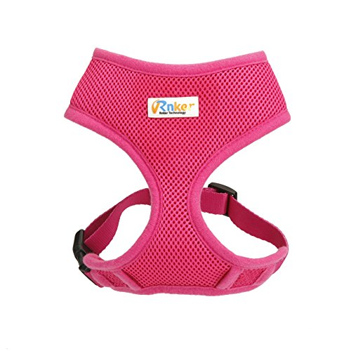 Harness Pet Control Comfort (Rnker Soft Mesh Dog Harnesses Padded Vest No Pull Comfort Double Layer Harness for Pet Puppy (Small, Pink))