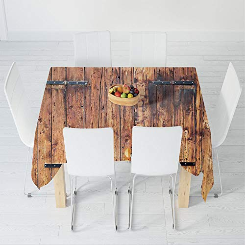 TecBillion Printed Tablecloth,Rustic,for Rectangle Table Kitchen Dinning Party,63 X 63 Inch,Antique Timber Planks in Weathered Tones with ()