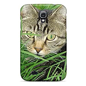 New CloudTown Super Strong Cat In Grass Tpu Case Cover For Galaxy S4