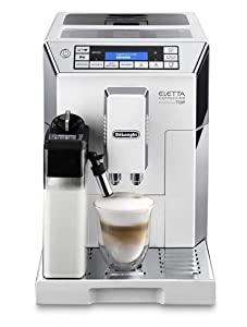 Delonghi super-automatic espresso coffee machine - with an adjustable silent ceramic grinder, double boiler, milk frother for brewing espresso, cappuccino, latte & macchiato, Eletta ECAM 45760