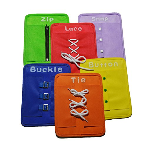 Dress Learning Boards Preschool Early Educational to Basic Life Skills Dress Learning Boards Learn to Button,Buckle,Zip,Snap,Lace & Tie