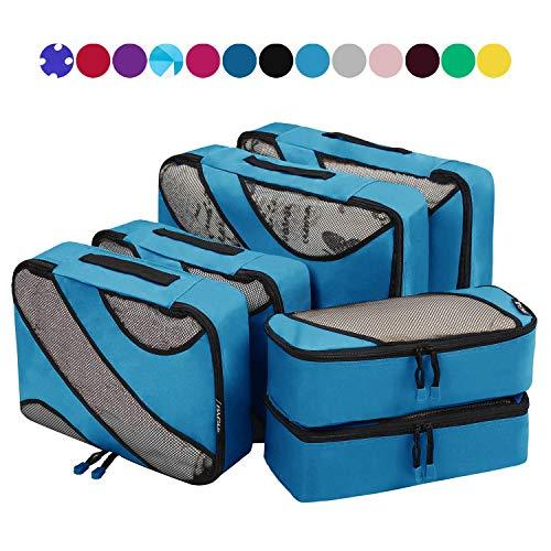 6 Set Packing Cubes,3 Various Sizes Travel Luggage Packing Organizers (Dark Blue)