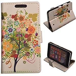 Einzige Slim Fit Leather Case Cover for Nokia Lumia 630 with Free Universal Screen-stylus (Prune Tree)