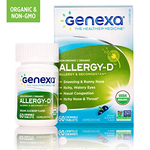 60 Symptoms Tablets - Genexa Allergy-D | Certified Organic & Non-GMO, Physician Formulated, Homeopathic | Multi-Symptom Allergy Relief Medicine | 60 Tablets