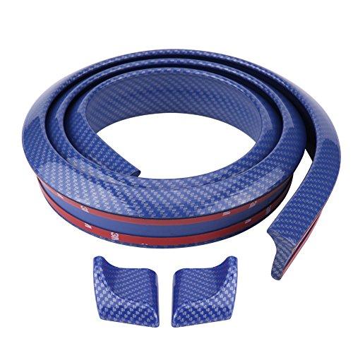 - Acouto 1.5m/4.9ft Carbon Fiber Soft Rubber Car Rear Roof Trunk Spoiler Wing Lip Sticker(Blue)