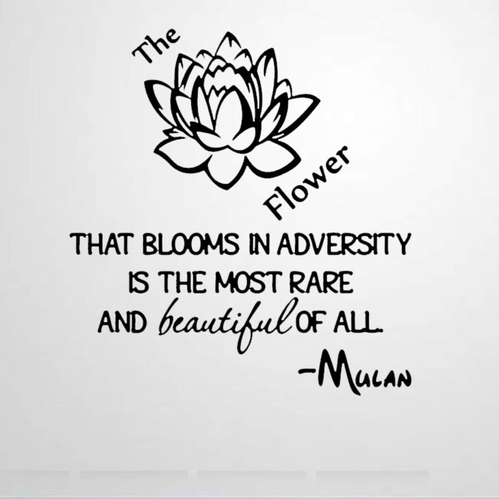 The Flower That Blooms in Adversity Mulan Wall Sticker,Quote Vinyl Wall Decal,Decor for Windows,Living Room,Bumper,Laptop,Tumbler,Bathroom Home Decor