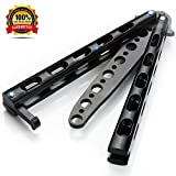Premium Balisong Butterfly Knife Trainer Practice By Anlado - Black Metal Steel - No Offensive Blade - Durable - Safe And Perfect For Beginner, Children, Butterfly Knives Lover And More