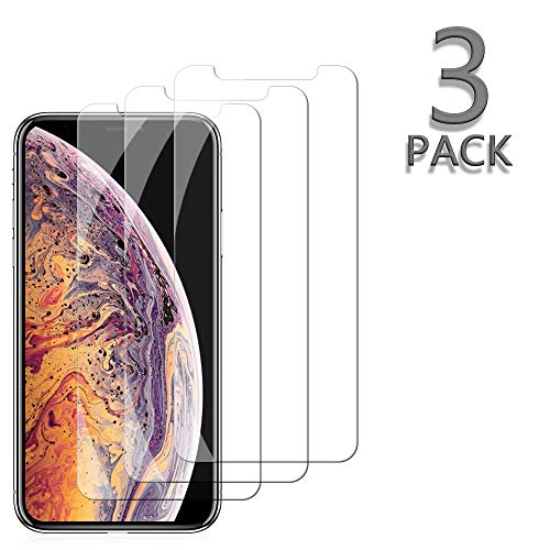Price comparison product image [3 Pack] TicTacTechs Screen Protectors for Apple iPhone Xs / iPhone X Tempered Glass Screen Protector [3D Touch] [9H Hardness] [No Bubble] Compatible iPhone Xs / X[5.8 Inch] Case Friendly (Clear)a11
