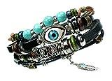 Eye Beaded Boho Multi Strand Feather Charm Leather Bracelet