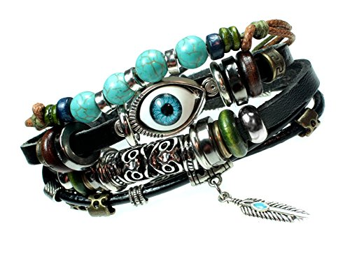 Bracelet Beaded Irish (Beautiful Silver Jewelry Eye Beaded Boho Multi Strand Feather Charm Leather Bracelet)
