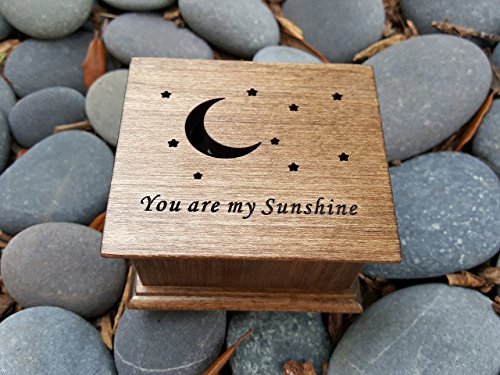 Personalized wooden music box with You are my sunshine engraved on the top along with a moon and stars, great gift for your daughter, handmade by simplycoolgifts by Simplycoolgifts