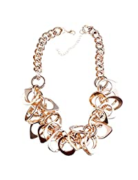 Winson Gold Tone Chunky Collar Bib Cluster Pendant Necklace Wide Chain