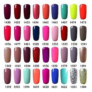 Vishine Choose Any 12 Bottles Soak-Off UV LED Nail Lacquers Gel Nail Polish Base Top Coat 10 Colors × 7ml