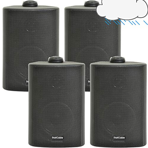"""(2 PAIR) 4x 3"""" 60W Black Outdoor Rated Speakers *Wall Mounting HiFi Brackets Included* 8Ohm & 100V Perfect for Outside…"""
