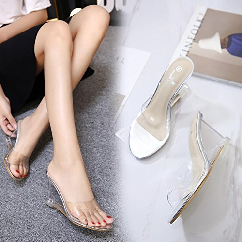 amp; Shoes Heels Shoes Color Silver Heel Crystal Party Size for 39 Evening Sandals Heel Summer PVC Fall Club Women's Wedge Sng0Rq6YYw