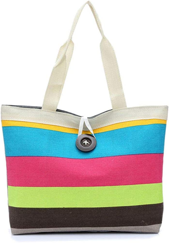 Casual Women Bags Colored Stripes Canvas Handbags Totes Large Capacity Shoulder Messenger Bags Shopping Bag Package