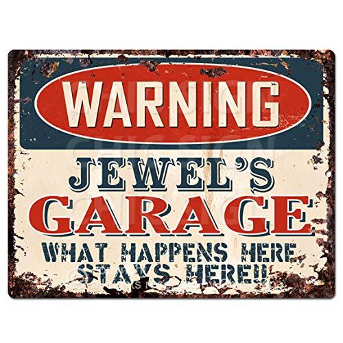 (Warning Jewel'S Garage Tin Chic Sign Vintage Retro Rustic 9