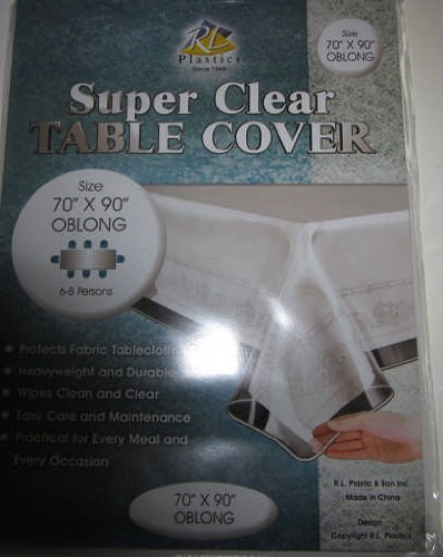 """UPC 614367926905, Naturally Home RL Plastics """"Clear as Glass"""" Super Heavy High Quality Plastic Tablecloth, 70 by 90-Inch, Clear"""