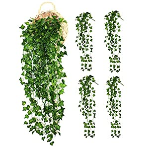 ALIERSA 4-Bunchs Artificial Vines Ivy Greenery Leaves Fake Hanging Plants Garland for Wall Decoration Outdoor Wedding Party Bar Decor 2