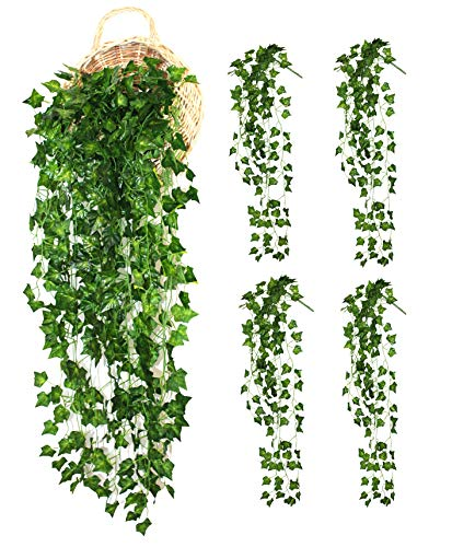 (ALIERSA 4-Bunchs Artificial Vines Ivy Greenery Leaves Fake Hanging Plants Garland for Wall Decoration Outdoor Wedding Party Bar Decor)