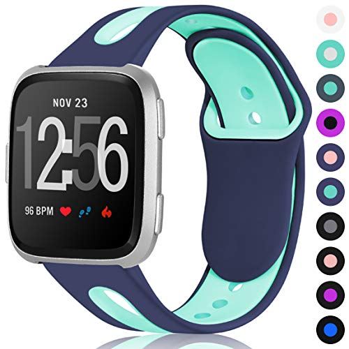 Maledan Sport Bands for Fitbit Versa Women Men, Large, Blue Teal