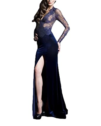 Wdress Mermaid Lace Prom Dresses Split Illusion Evening Party Gowns Long Sleeve Navy US 2
